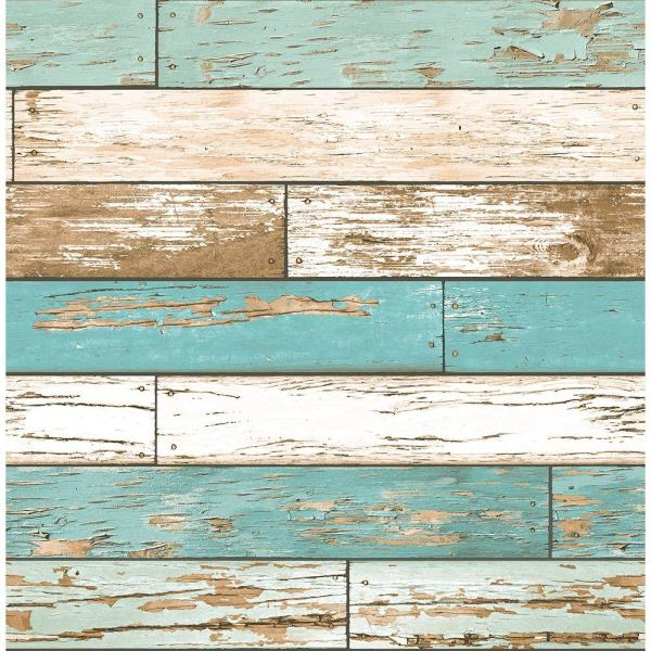 Brewster Turquoise Scrap Wood Weathered Texture Wallpaper