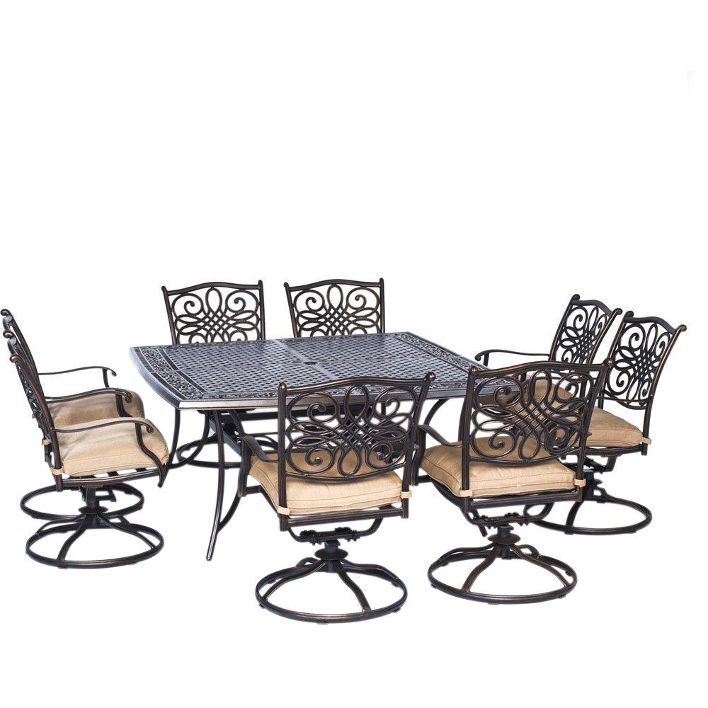Hanover Traditions 9 Piece Aluminium Square Patio Dining Set With Eight Swivel Chairs And Natural Oat Cushions