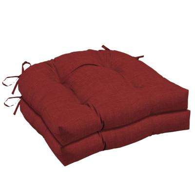 20 in. x 18 in. Ruby Leala Texture Rectangle Outdoor Seat Cushion (2-Pack)