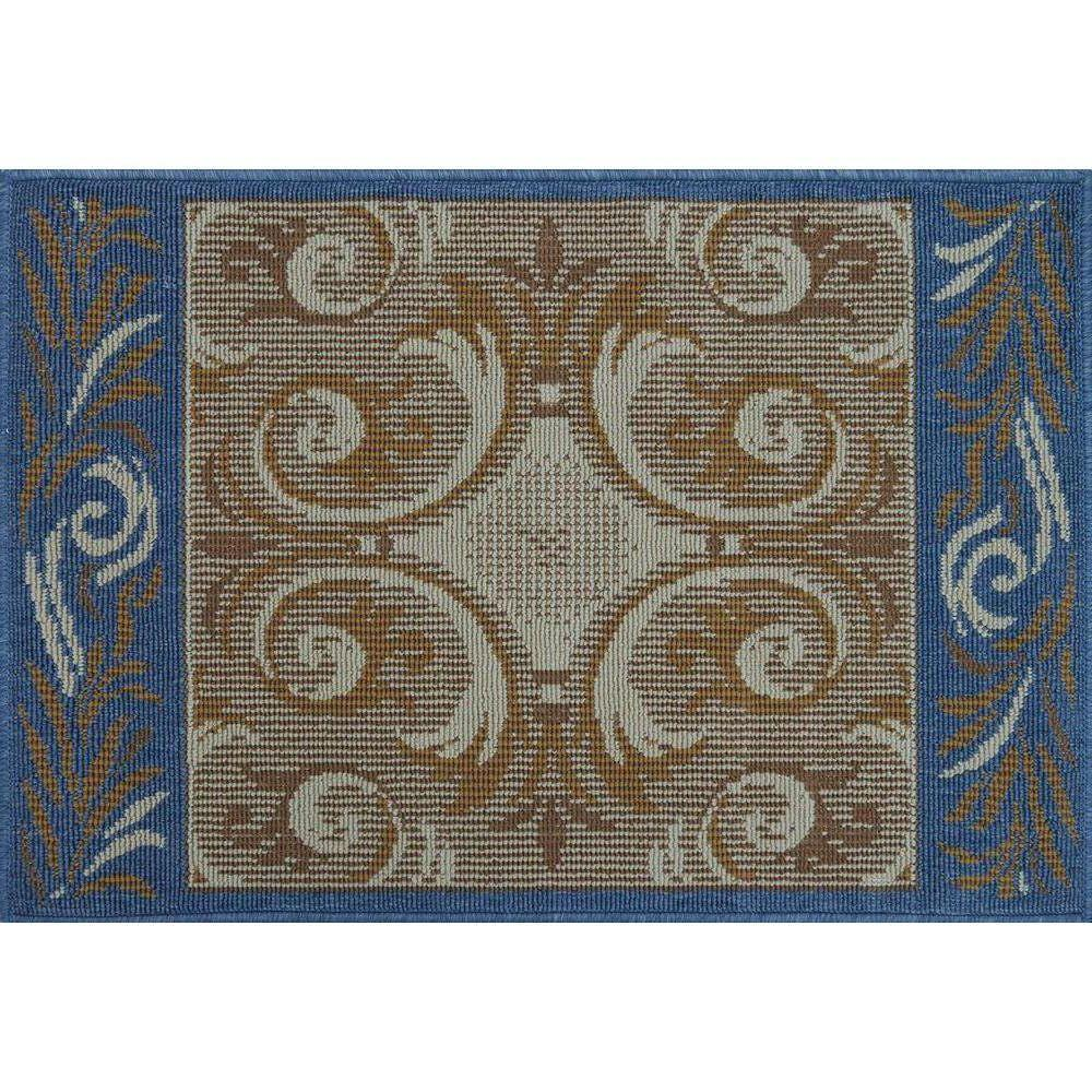 Loloi Rugs Augusta Lifestyle Collection Ivory Blue 1 ft. 9 in. x 2 ft. 9 in. Accent Rug-DISCONTINUED
