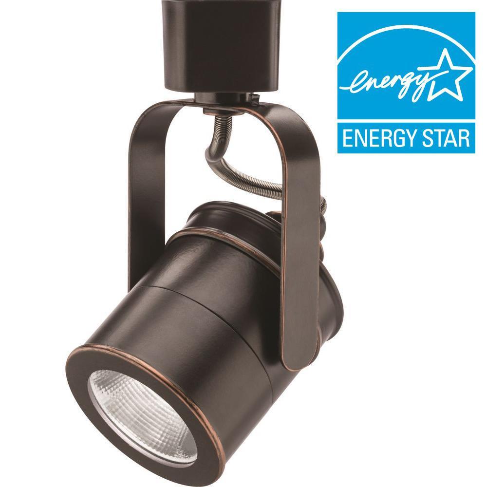 Spotlight 1-Light Oil-Rubbed Bronze Integrated LED Track Lighting Head