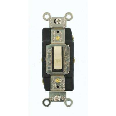 20 Amp Industrial Grade Heavy Duty Double-Pole Double-Throw Center-Off Maintained Contact Toggle Switch, Ivory