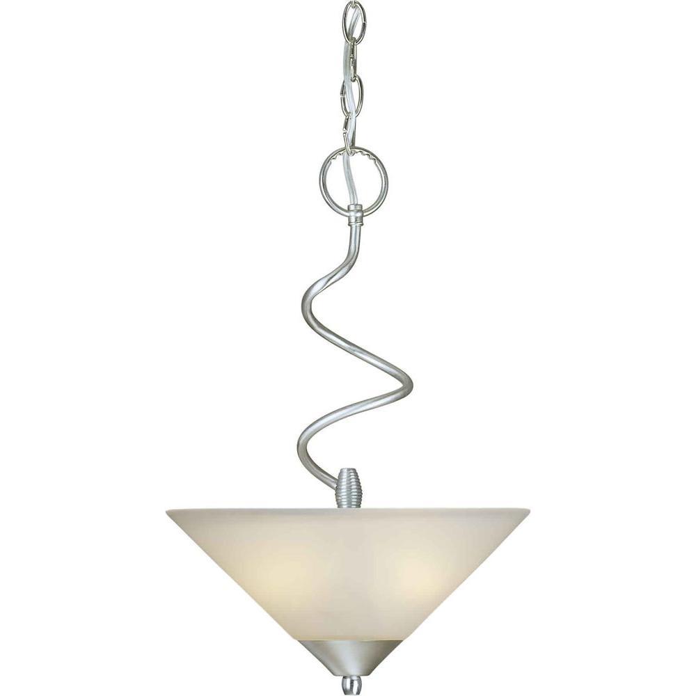 Illumine 2 Light Bowl Pendant Brushed Nickel Finish Satin White Glass-DISCONTINUED
