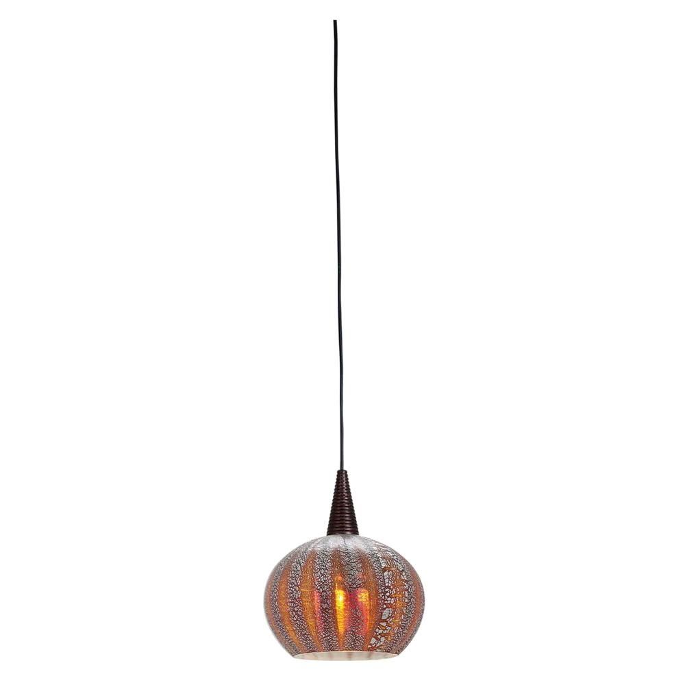 Access Lighting 1-Light Pendant Brushed Steel Finish Silver Amber Ribbed Opalin Glass-DISCONTINUED