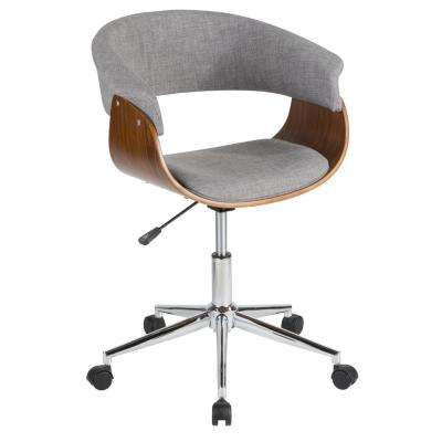 Vintage Mod Walnut and Light Grey Office Chair