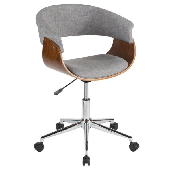 Lumisource Vintage Mod Walnut And Light Grey Office Chair