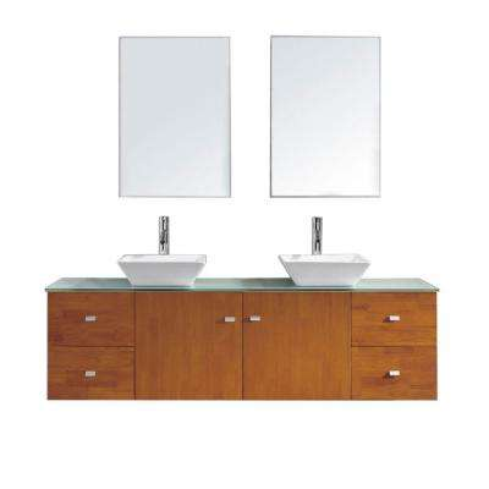 Clarissa 71.85 in. W x 22.05 in. D x 20.87 in. H Honey Oak Vanity with Glass Vanity Top with Aqua Basin and Mirror