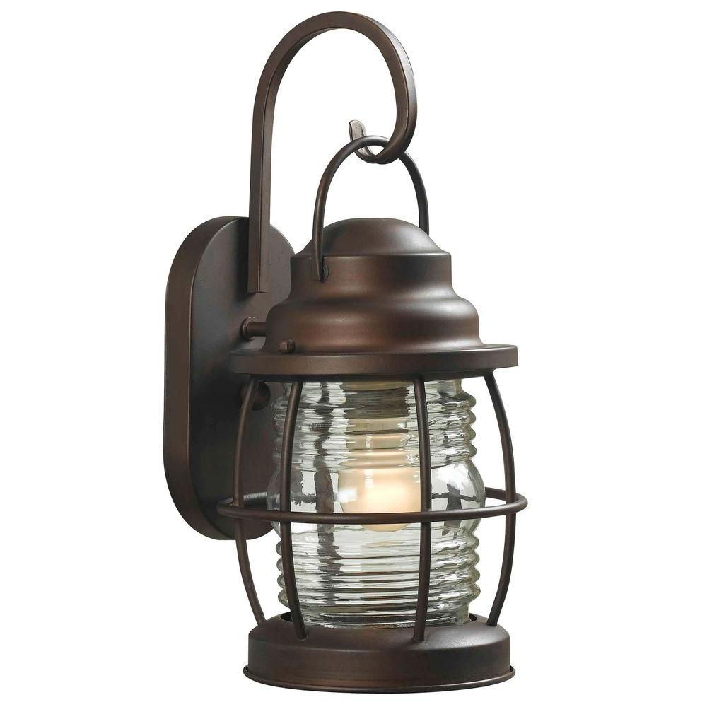 Coastalnautical lighting the home depot harbor 1 light copper bronze outdoor medium wall lantern aloadofball Images