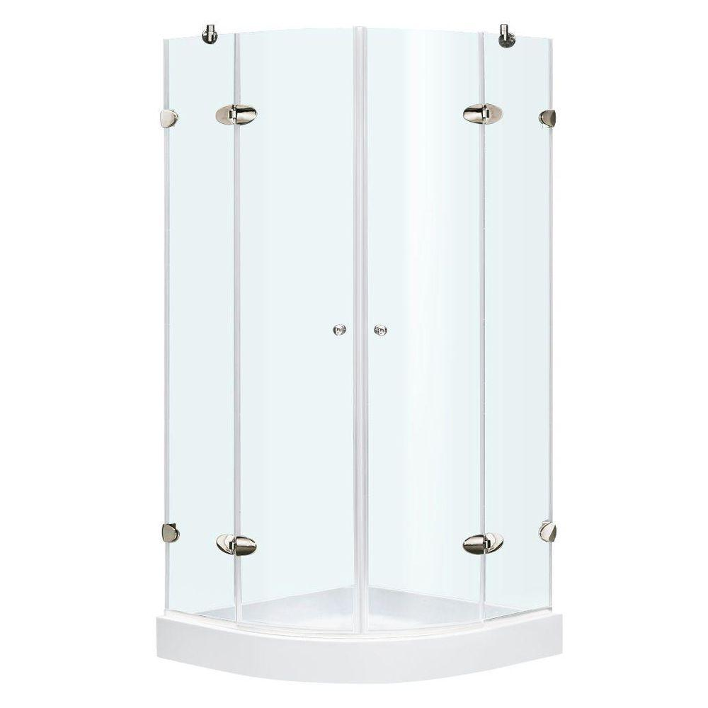 Vigo 40 in. x 78 in. Frameless Neo-Round Shower Enclosure in Chrome with Clear Glass and Base