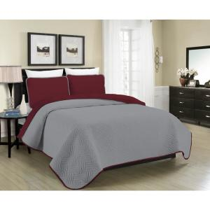MHF Home Allison Reversible 3-Piece Burgundy and Grey King Quilt Set