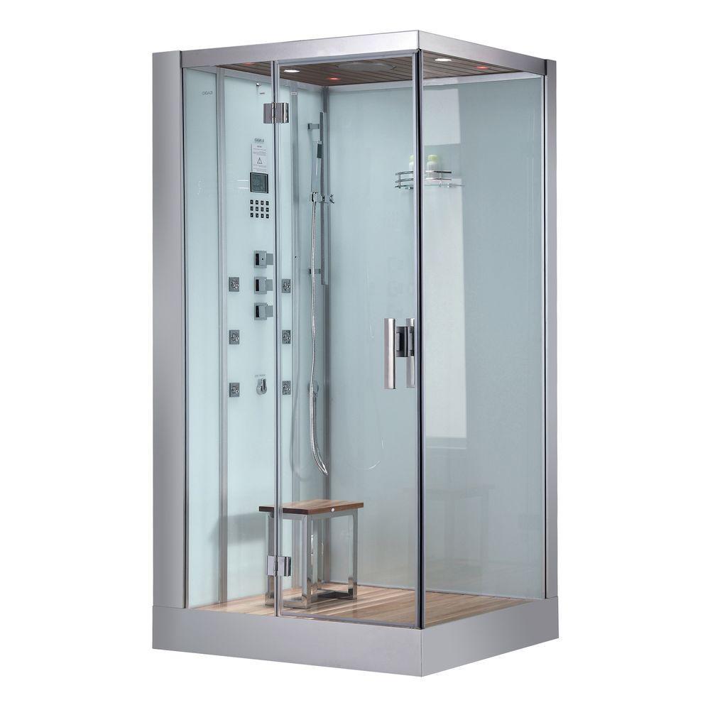 Ariel 47 inch x 35.4 inch x 89.1 inch Steam Shower Enclosure Kit in White by Ariel