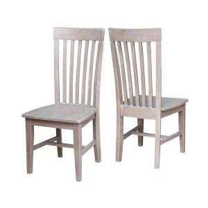 Cosmo Weathered Gray Wood Mission Dining Chair Set Of 2