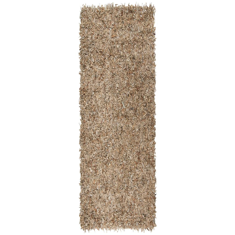 Leather Shag Beige 2 ft. x 8 ft. Runner