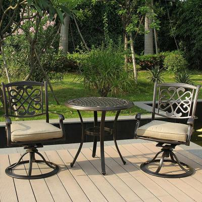 Outdoor Garden Round Table and Chairs with Umbrella Hole HAPPYGRILL 3pcs Bistro Set Antique Patio Furniture Set