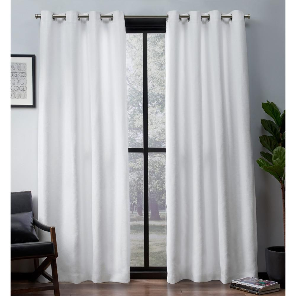 Leeds Winter White Textured Slub Woven Blackout Grommet Top Window Curtain