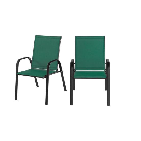 Stylewell Mix And Match Black Steel Sling Outdoor Patio Dining Chair In Kelly Green 2 Pack Fcs00015y2pkbgr The Home Depot