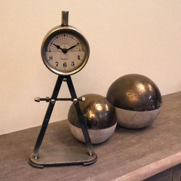 Rustic Mathematical Compass Shaped Stand Table Clock
