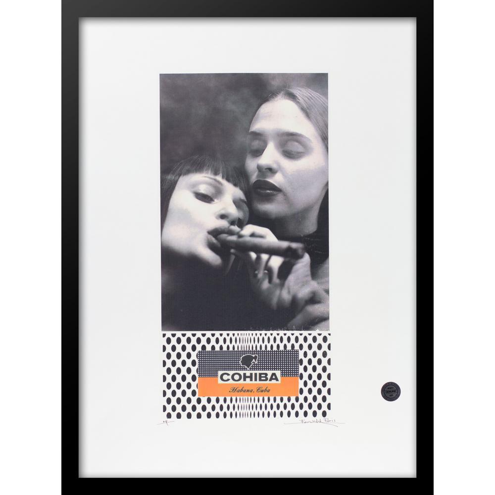 """30 in. x 22 in. """"Deux Femmes Deux VIP Cohiba Cigar Series"""" by Fairchild Paris Framed Print Ad Wall Art"""