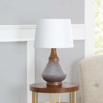 Darcy 20 in. Gray Table Lamp with Linen Shade