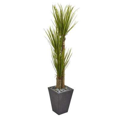5.5 ft. Indoor Triple Stalk Yucca Artificial Plant in Slate Planter