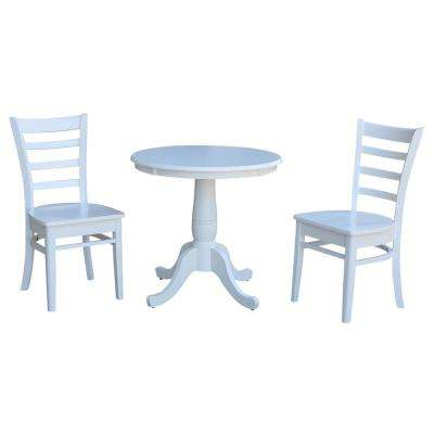 Hampton 3-Piece White Solid Wood Dining Set