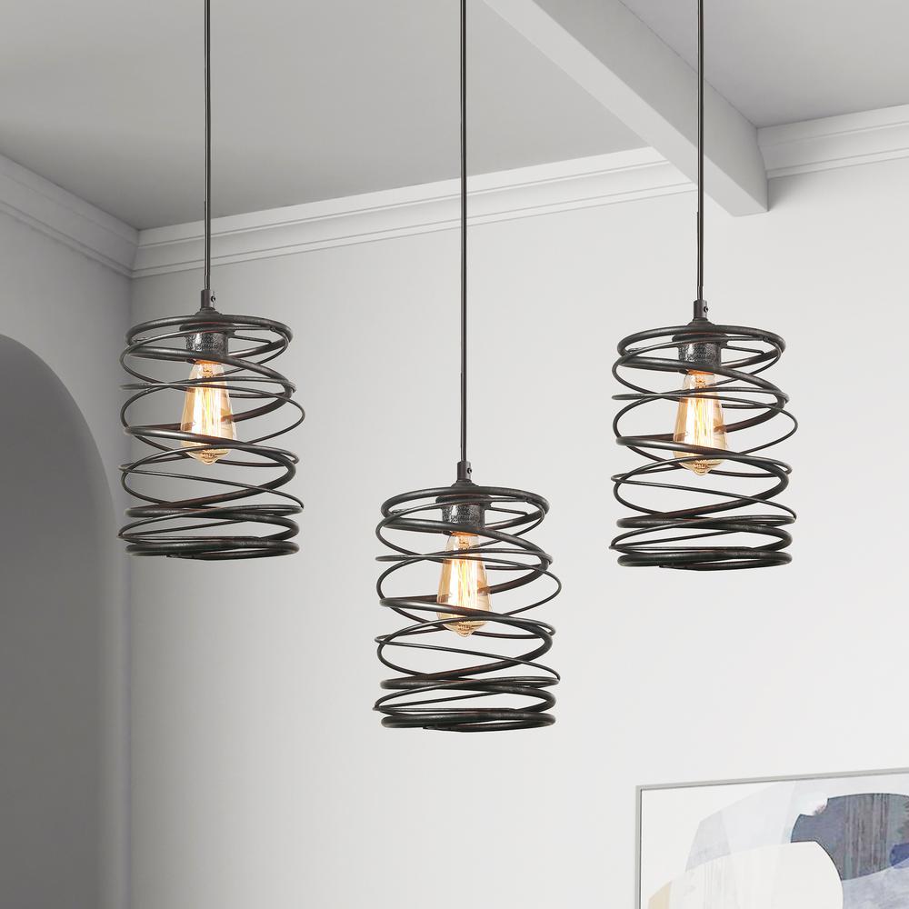 Pendant Lighting 1-Light 8 in. Mottled Black Mini Pendant with Spiral Iron Lantern Cage Rustic Ceiling Pendant Light