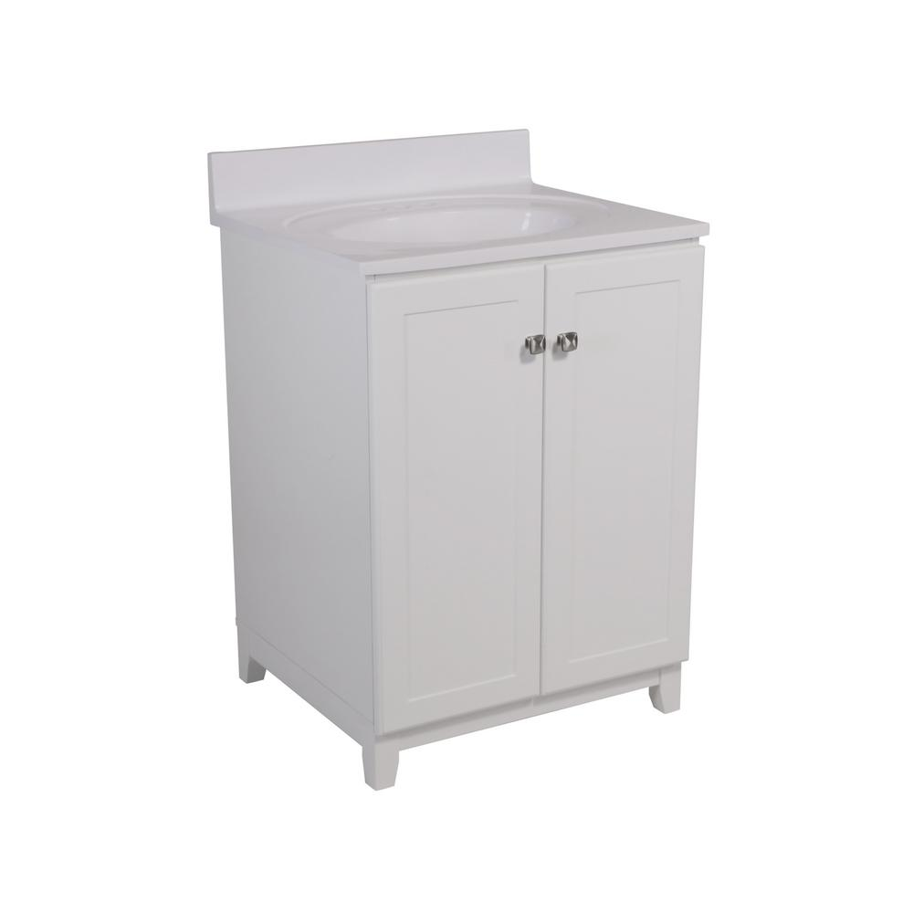 Design House 24 in. x 21 in. x 33 in. Shorewood 2-Door Vanity in White with Solid White Cultured Marble Vanity Top with White Basin