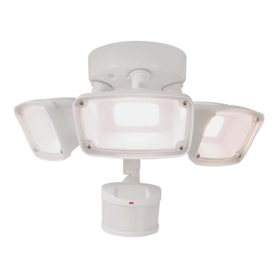 180-Degree White Motion Activated Outdoor Integrated LED Triple Head Flood Light, Selectable CCT (3000K-5000K)