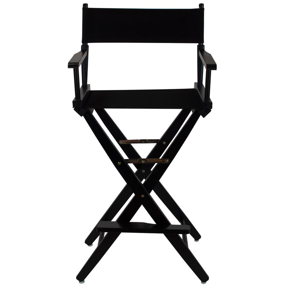 Extra Wide Black Wood Frame/Black Canvas Seat Folding Directors Chair
