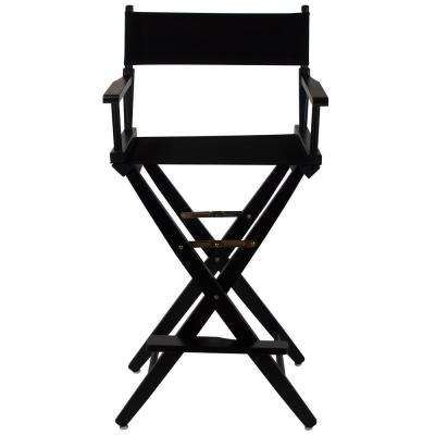 30 in. Extra-Wide Black Wood Frame/Black Canvas Seat Folding Directors Chair