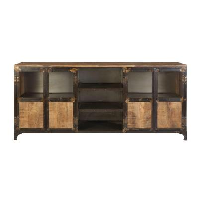 Manchester 72 in. Natural Reclaimed Wood TV Stand Fits TVs Up to 80 in. with Storage Doors
