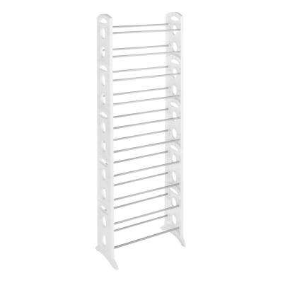 12 in. D x 22.5 in. W x 62.3 in. H 30-Pair White Plastic Resin Freestanding Adjustable Shelving Shoe Organizer