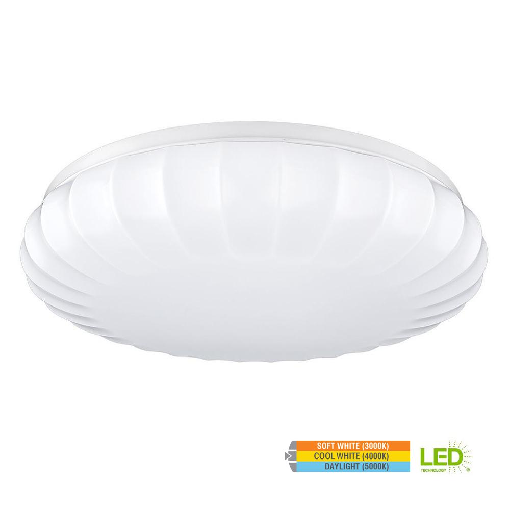 Carousel Style15 in. Round White 100 Watt Equivalent Integrated LED Flushmount