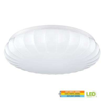 Carousel Style15 in. Round White 100 Watt Equivalent Integrated LED Flush Mount with Color Temperature Changing Feature