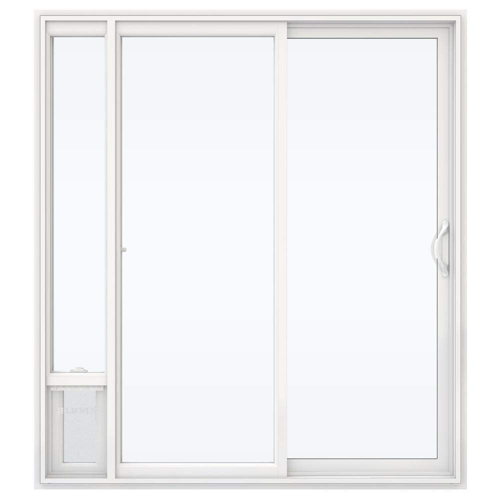 72 in. x 80 in. V2500 White Vinyl Prehung Right Hand 1 Lite Sliding Patio Door with Medium Pet Door