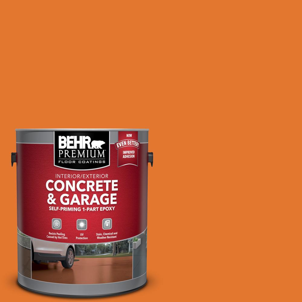 BEHR PREMIUM 1 gal. #OSHA-3 OSHA SAFETY ORANGE Self-Priming 1-Part Epoxy Satin Interior/Exterior Concrete and Garage Floor Paint