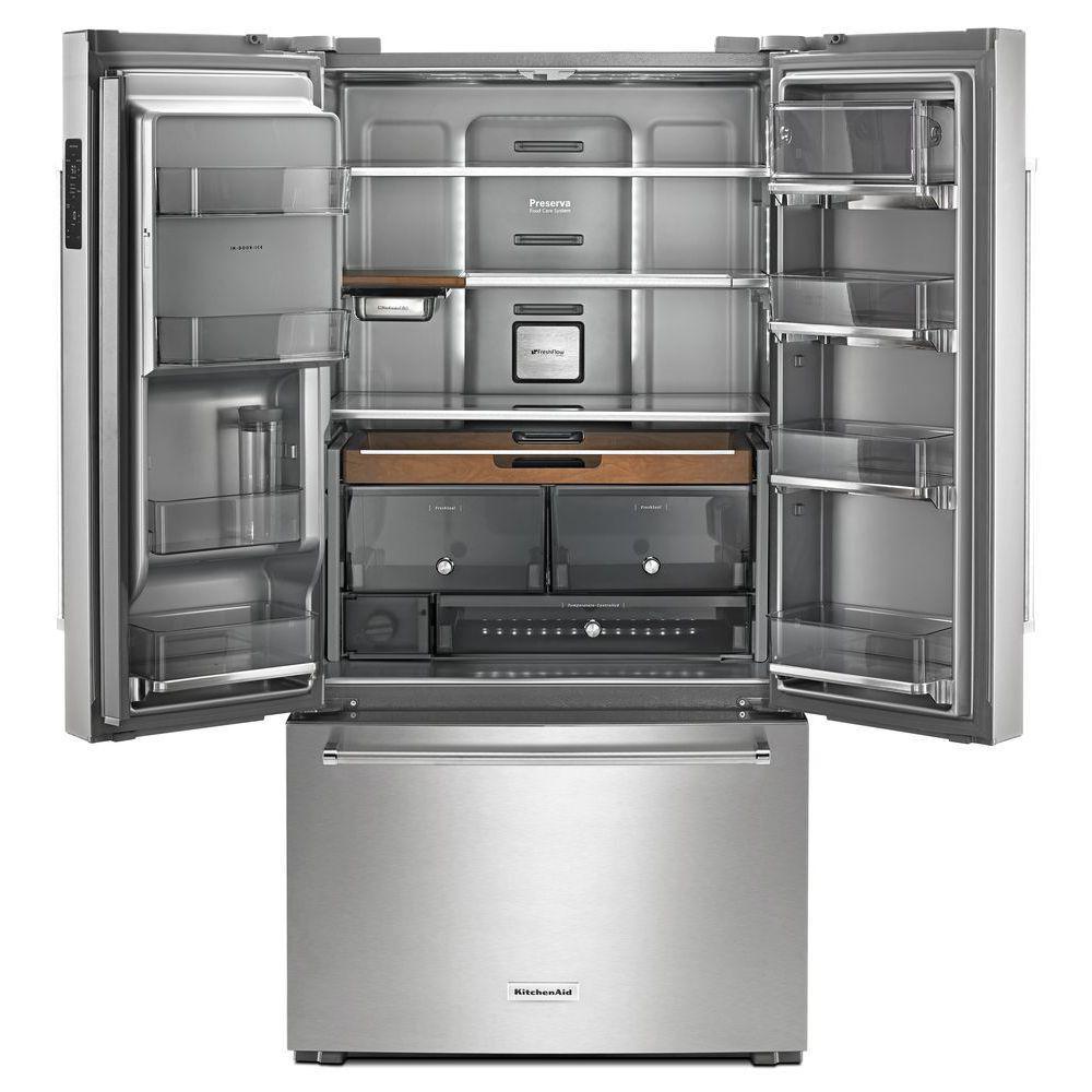 Kitchenaid 23 8 Cu Ft French Door Refrigerator In Printshield