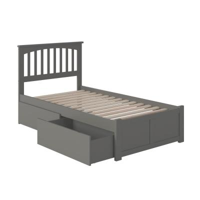 Mission Twin XL Platform Bed with Flat Panel Foot Board and 2 Urban Bed Drawers in Grey