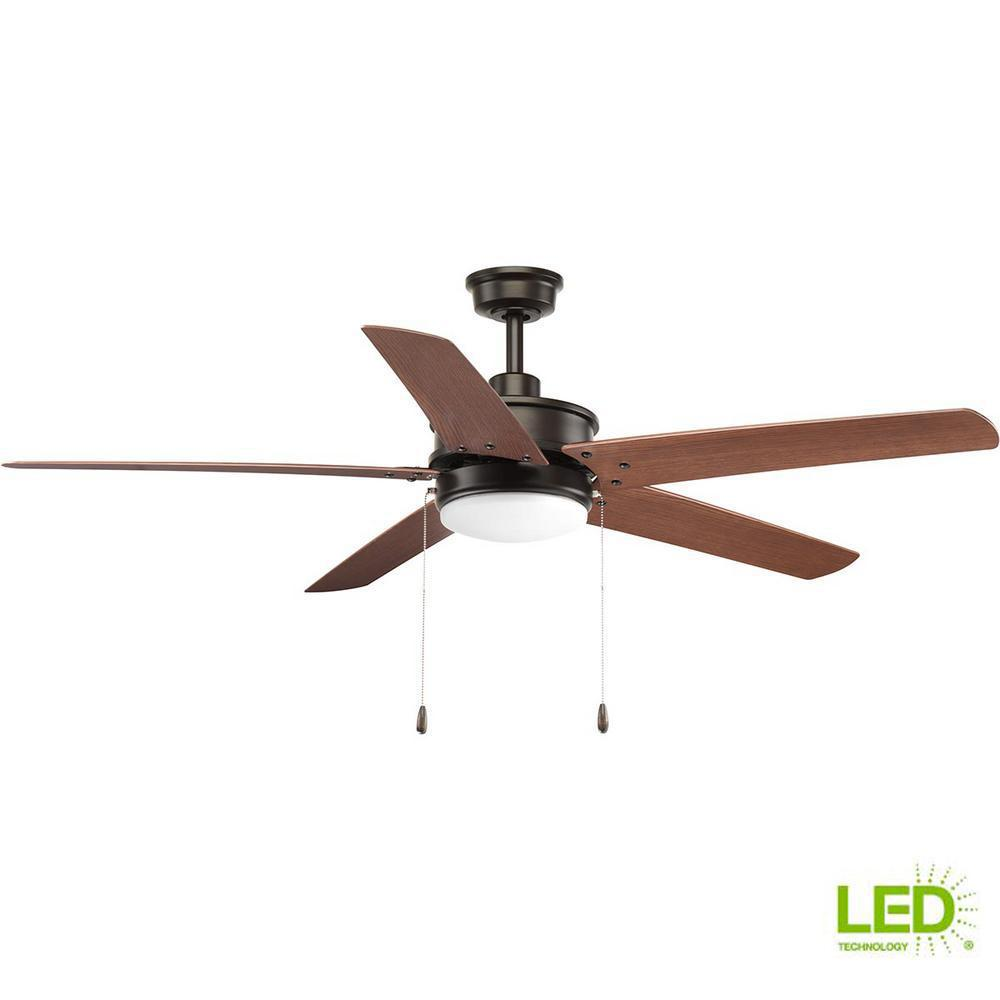 Progress Lighting Whirl Collection 60 In Led Antique Bronze Ceiling Fan