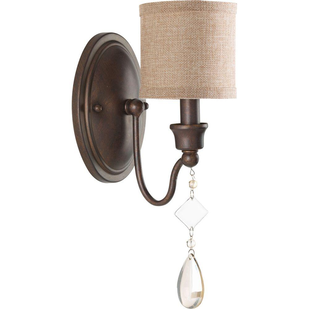 Progress Lighting Flourish Collection 1-Light Cognac Wall Sconce with Linen Shade-P7142-72 - The Home Depot  sc 1 st  The Home Depot & Progress Lighting Flourish Collection 1-Light Cognac Wall Sconce ... azcodes.com