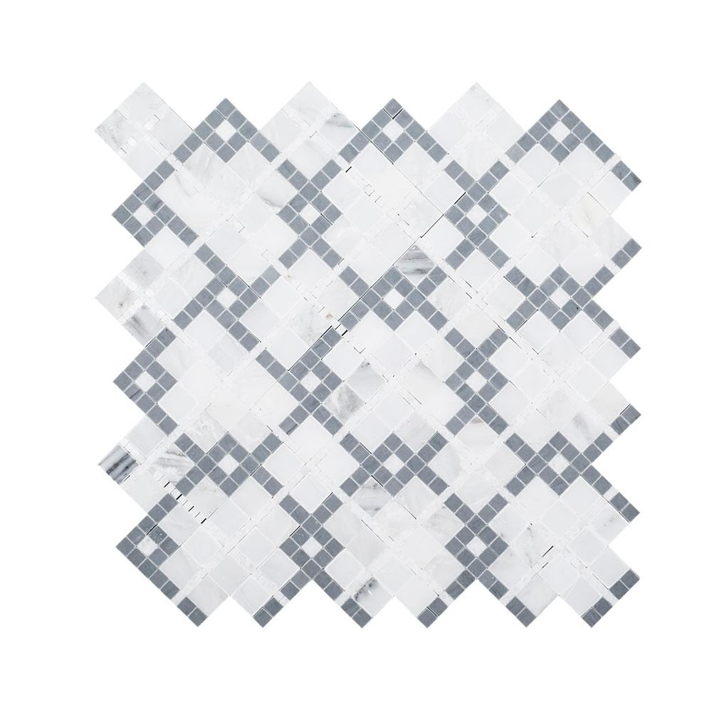 Madras Cotton Gray 12.5 in. x 12.5 in. x 8 mm Geometric Natural Stone Wall and Floor Mosaic Tile