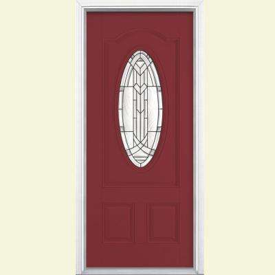 36 in. x 80 in. Chatham 3/4 Oval Red Bluff Right-Hand Inswing Painted Smooth Fiberglass Prehung Front Door w/ Brickmold