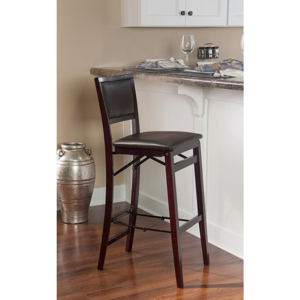 Amazing Linon Home Decor Triena 24 In Espresso Pad Back Folding Frankydiablos Diy Chair Ideas Frankydiabloscom