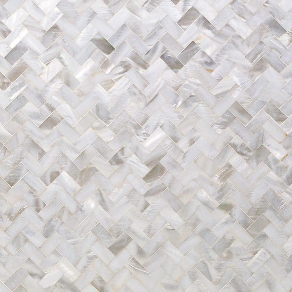 Lokahi White Herringbone 11.69 in. x 12.51 in. x 2 mm Pearl Shell Mosaic Tile