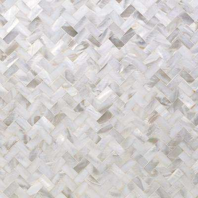 Lokahi White Herringbone 11.69 in. x 12.51 in. x 2 mm Pearl Shell Mosaic Tile