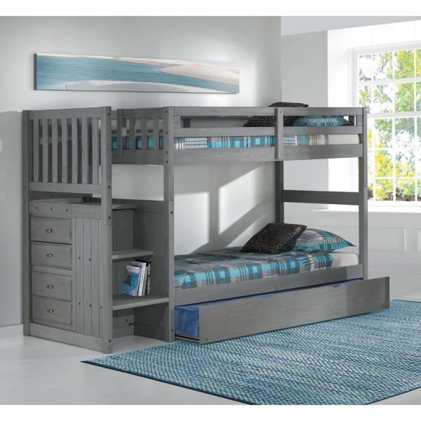 American Furniture Classics Charcoal Twin over Twin Solid Wood Staircase Bunkbed