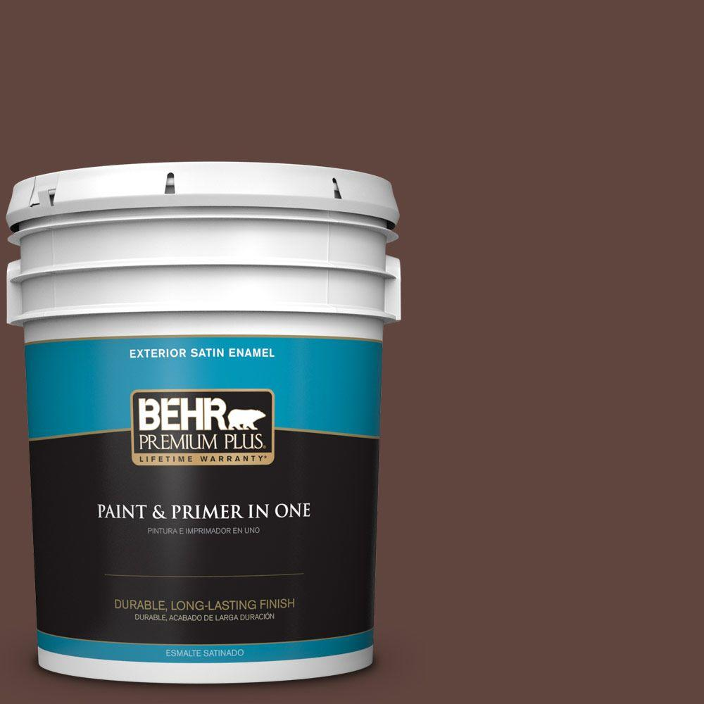 BEHR Premium Plus 5-gal. #T15-5 Heritage Oak Satin Enamel Exterior Paint