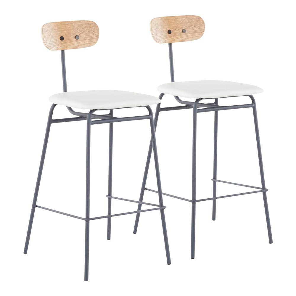 Brilliant Lumisource Elio 25 25 In Grey Metal Counter Stool With Andrewgaddart Wooden Chair Designs For Living Room Andrewgaddartcom