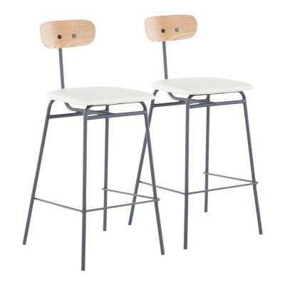 Elio 25.25 in. Grey Metal Counter Stool with White Faux Leather (Set of 2)