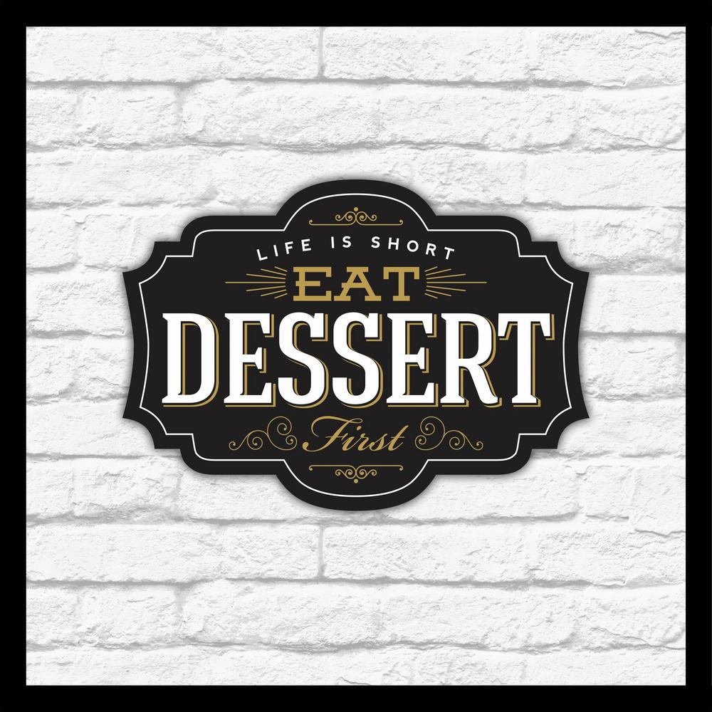 "16 in. x 16 in. ""Eat Dessert"" Shadowbox Wall Art"